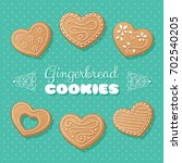 gingerbread heart shaped... | Shutterstock .eps vector #702540205
