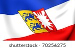 Flag of Schleswig-Holstein, Germany. Close up. - stock photo