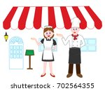 restaurant cooks and maids are... | Shutterstock .eps vector #702564355