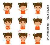 set of cartoon vector kid... | Shutterstock .eps vector #702565285