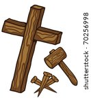 A Wooden Cross Three Nails And...