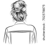 woman with cute lazy hair bun . ...   Shutterstock .eps vector #702578875