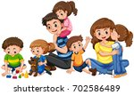 parents with five children... | Shutterstock .eps vector #702586489