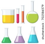 different shapes of beakers... | Shutterstock .eps vector #702586579