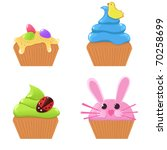 Vector Easter cupcakes - stock vector