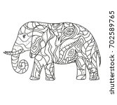elephant. design zentangle.... | Shutterstock .eps vector #702589765