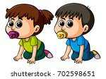 girll and boy with happy face... | Shutterstock .eps vector #702598651