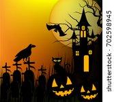 halloween background with...   Shutterstock .eps vector #702598945