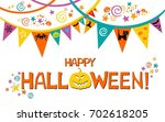 halloween card. celebration... | Shutterstock . vector #702618205