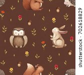 illustrations of cute animals.... | Shutterstock . vector #702618829