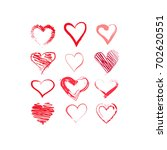 hand drawn hearts set. red... | Shutterstock .eps vector #702620551