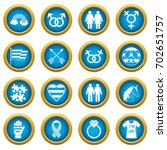 lgbt icons blue circle set... | Shutterstock .eps vector #702651757