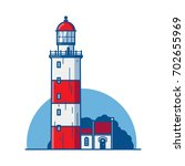 lighthouse with a small house | Shutterstock .eps vector #702655969