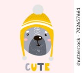 cute cartoon bear boy in winter ... | Shutterstock .eps vector #702657661