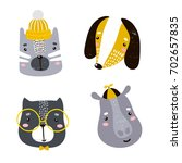 set of four cute animal faces.... | Shutterstock .eps vector #702657835