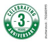 3 years anniversary logo.... | Shutterstock .eps vector #702683995