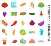 gastronomy shop icons set.... | Shutterstock .eps vector #702685135
