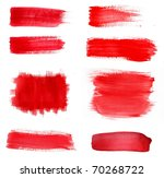 set of red paint drawn with... | Shutterstock . vector #70268722