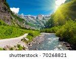 Idyllic Alpine Valley With...