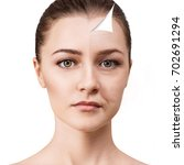 woman's face before and after...   Shutterstock . vector #702691294
