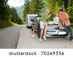 family with camping car on the ... | Shutterstock . vector #70269556