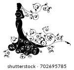 bride silhouette wedding design ... | Shutterstock .eps vector #702695785