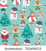 seamless christmas pattern with ... | Shutterstock .eps vector #702698215