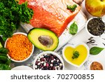 fresh raw salmon fillet and... | Shutterstock . vector #702700855