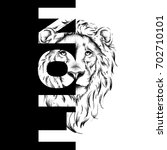 drawing of a lion's head.... | Shutterstock .eps vector #702710101