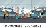 air hostess inspecting plane... | Shutterstock .eps vector #702710521