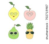 set of hand drawn cute funny... | Shutterstock .eps vector #702715987
