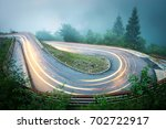 Winding Mountain Road With Car...