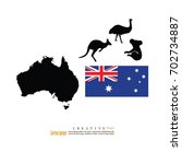 outline map of austrlia  with... | Shutterstock .eps vector #702734887