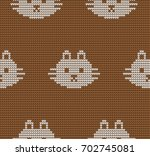 knitted seamless pattern with... | Shutterstock .eps vector #702745081