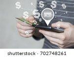 businessman pressing button... | Shutterstock . vector #702748261