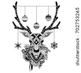 line art designs of christmas... | Shutterstock .eps vector #702753265
