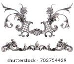 chrome ornament on a white... | Shutterstock . vector #702754429
