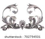 chrome ornament on a white... | Shutterstock . vector #702754531