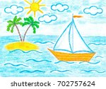 colorful pencils drawing ... | Shutterstock . vector #702757624