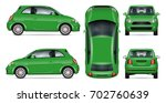 Green Mini Car Vector Mock Up...