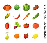 set of vegetables and fruits.... | Shutterstock .eps vector #702761515