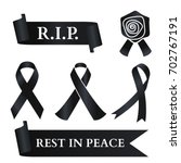 black ribbon for rest in peace  ... | Shutterstock .eps vector #702767191
