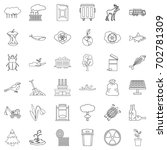 polluting icons set. outline... | Shutterstock .eps vector #702781309