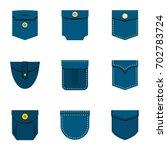 fashion pocket icon set. flat...   Shutterstock .eps vector #702783724