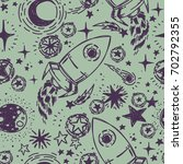 seamless pattern with sketch... | Shutterstock .eps vector #702792355