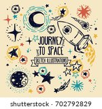 set of sketch stars  rocket ... | Shutterstock .eps vector #702792829