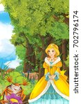 cartoon fairy tale scene with a ... | Shutterstock . vector #702796174