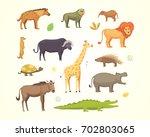 african animals set.elephant ... | Shutterstock . vector #702803065