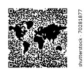 QR Code World Map - stock photo