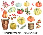watercolor autumn set of leaves ... | Shutterstock . vector #702820081